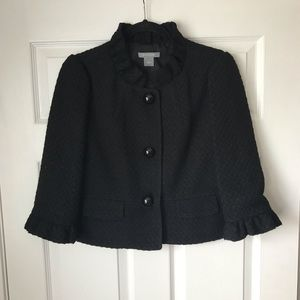 Ann Taylor cropped tweed ruffle jacket/blazer